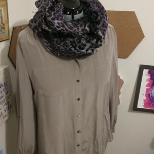 Gray and purple animal print scarf